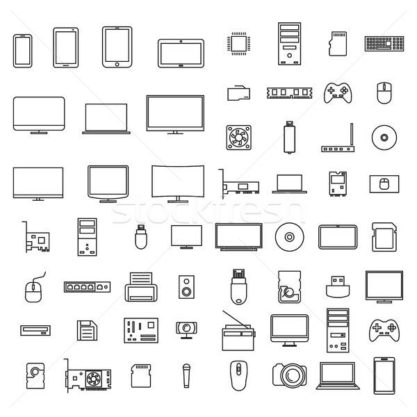 114309068a Icone · del · computer · sottile · linee · set · icone · computer ...