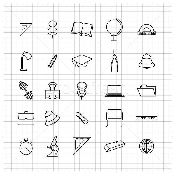 School set of icons, vector illustration. Stock photo © kup1984