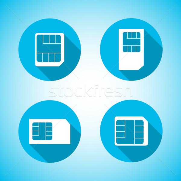 Set icons SIM card, vector illustration. Stock photo © kup1984