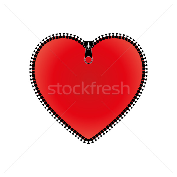 Red heart with zipper, vector illustration. Stock photo © kup1984