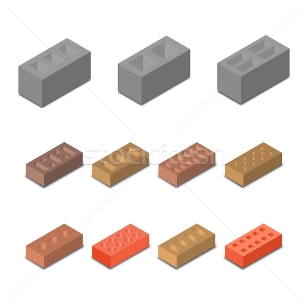 Ingesteld isometrische icon bouwmaterialen vorm Stockfoto © kup1984