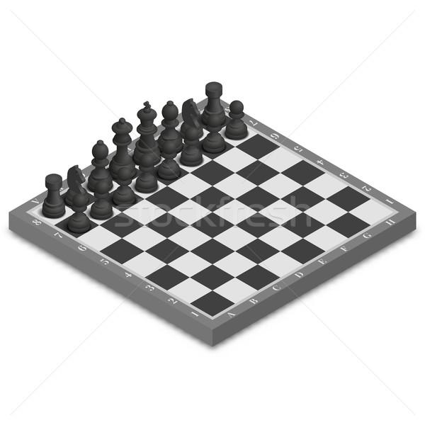 Sakktábla darabok izometrikus fotó valósághű fekete Stock fotó © kup1984