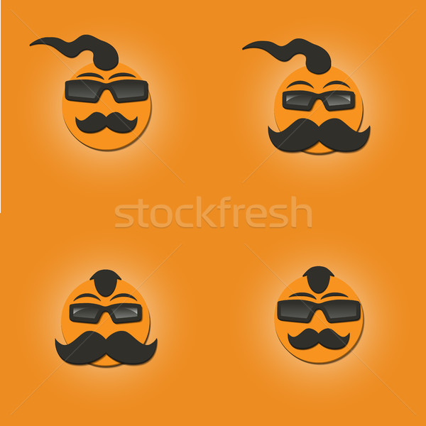 Funny faces with a mustache, vector illustration. Stock photo © kup1984