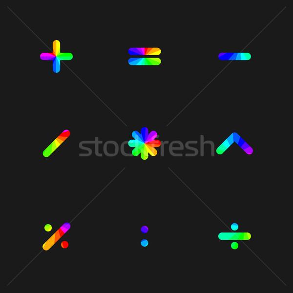 Tęczy symbolika matematyczny projektu podpisania Kalkulator Zdjęcia stock © kup1984