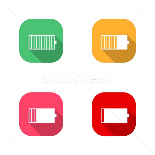 Icônes batterie carré niveau faible Photo stock © kup1984