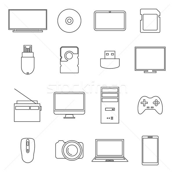 Сток-фото: иконки · цифровой · тонкий · линия · изолированный