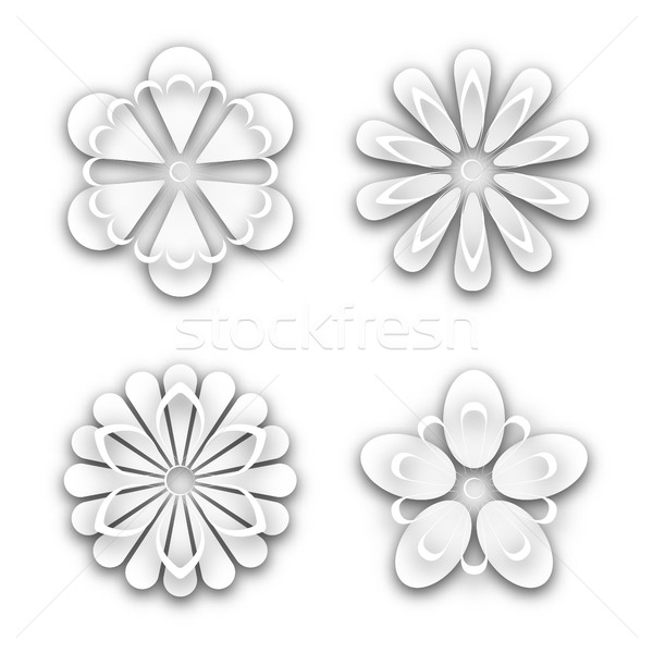 Set of white paper flower buds, vector illustration. Stock photo © kup1984