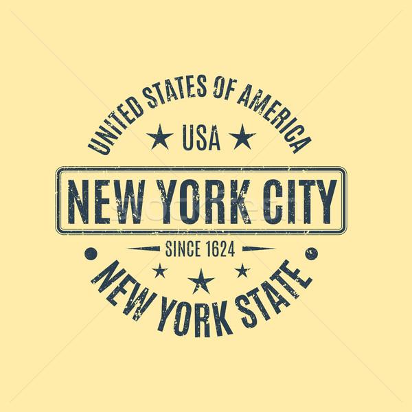 Гранж синий штампа текста Нью-Йорк Сток-фото © kup1984