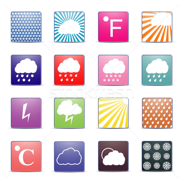 Weather icons, vector illustration. Stock photo © kup1984