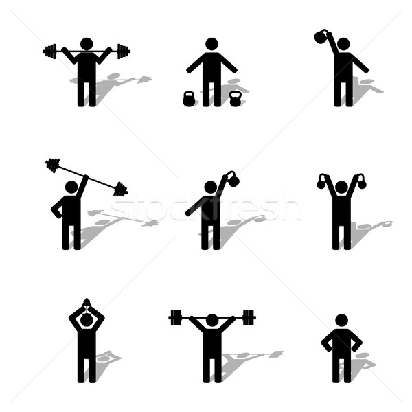Set athlete silhouettes, vector illustration. Stock photo © kup1984
