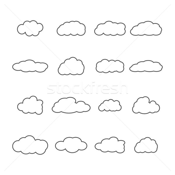 Set of icons of clouds, vector illustration. Stock photo © kup1984