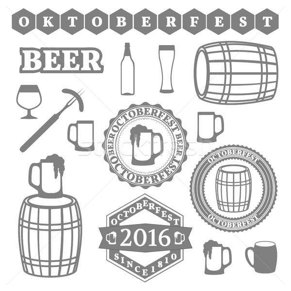 Oktoberfest ingesteld objecten logos afdrukken symbolen Stockfoto © kup1984