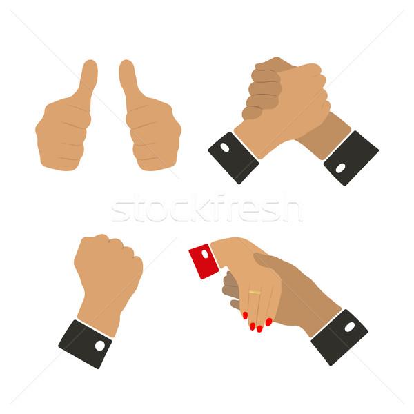 ícones mão gestos isolado branco Foto stock © kup1984