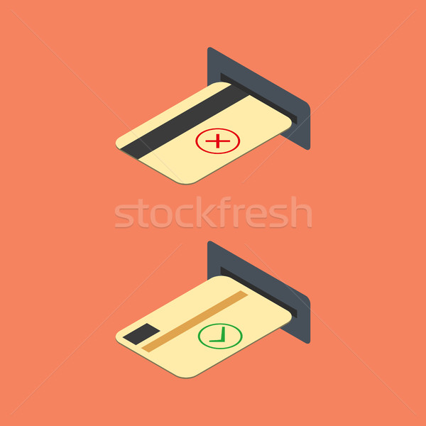 How to insert credit card into the ATM, vector illustration. Stock photo © kup1984