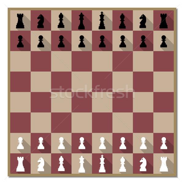 Satranç tahtası uzun diyagonal gölge imzalamak satranç Stok fotoğraf © kup1984