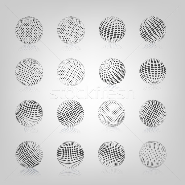 Sphere with halftone fill, vector illustration. Stock photo © kup1984