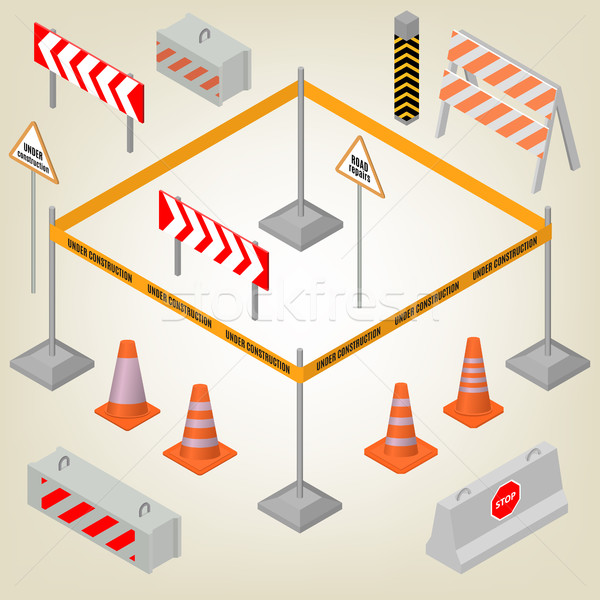 Stock photo: Set of road signs repairs in isometric, vector illustration.