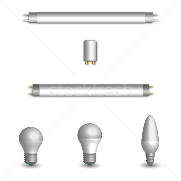 Set of different LED and fluorescent light bulbs in 3D, vector illustration. Stock photo © kup1984