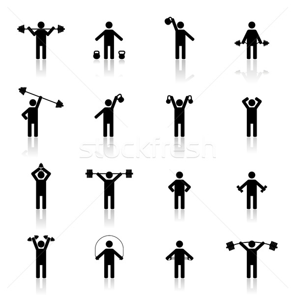 Set athlete silhouettes, vector illustration Stock photo © kup1984