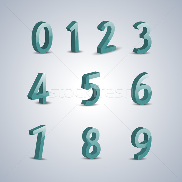 Volumetric numerals, vector illustration. Stock photo © kup1984