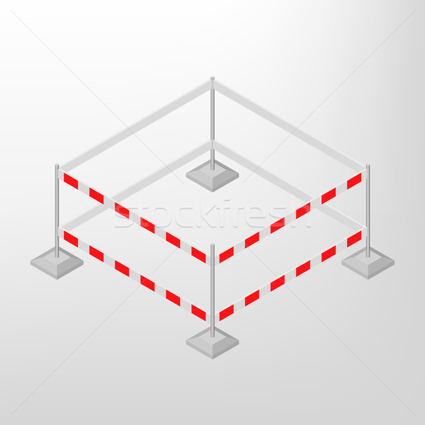 Road traffic barrier isometric, vector illustration. Stock photo © kup1984