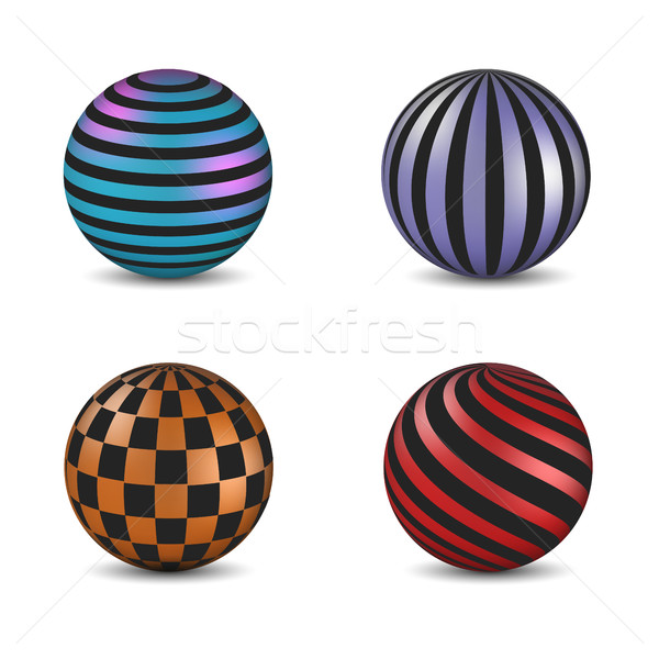 Set of glossy colored balls with strip and square fill, vector illustration. Stock photo © kup1984