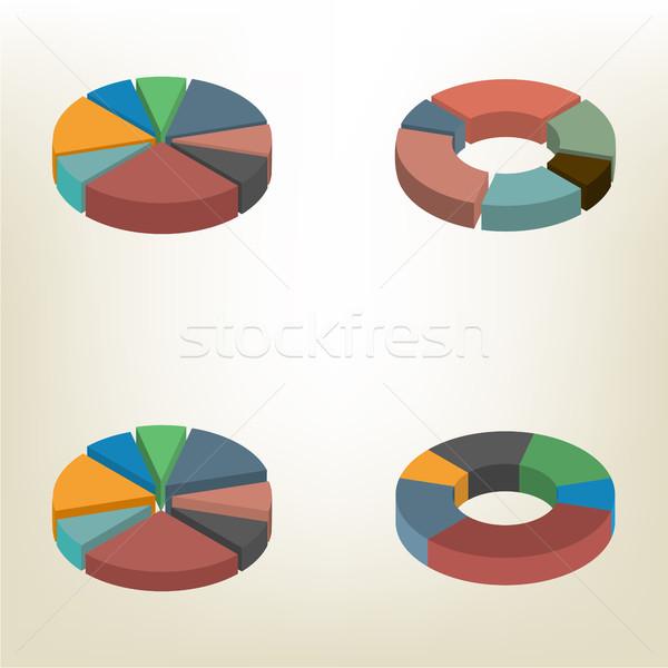 Cirkeldiagram isometrische geïsoleerd witte ontwerp communie Stockfoto © kup1984