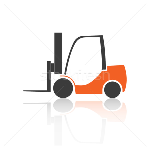 Flat forklift icon, vector illustration. Stock photo © kup1984