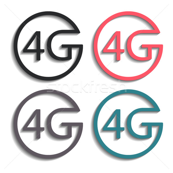 Ikonok 4g szett négy színes elegáns Stock fotó © kup1984