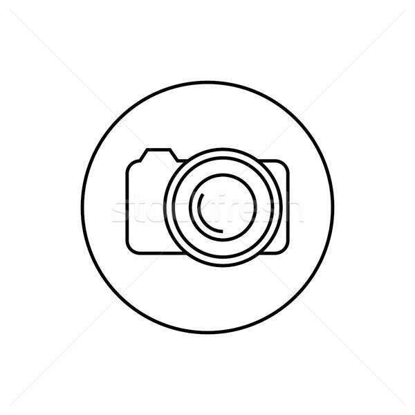 Contorno ícone câmera fino linhas isolado Foto stock © kup1984
