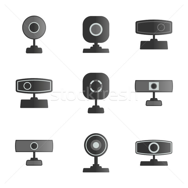 Set  icons webcam, vector illustration. Stock photo © kup1984