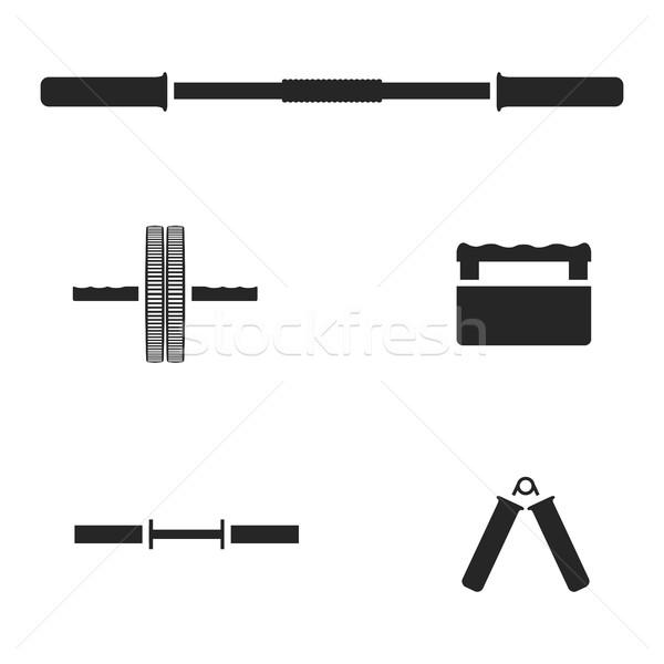 Sportgeräte Set Silhouetten Fitnessstudio isoliert weiß Stock foto © kup1984