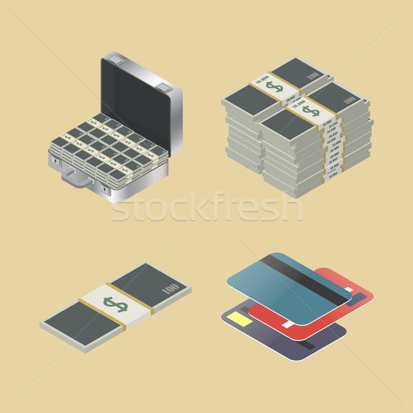 Szett pénzügyi ikon szett ikonok izometrikus stílus Stock fotó © kup1984