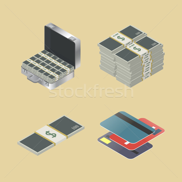 Set of financial icons, vector illustration. Stock photo © kup1984