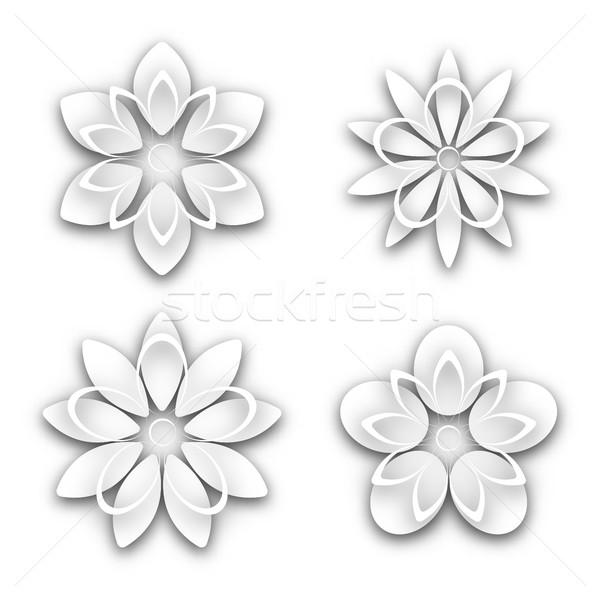 Set of white paper flower buds, vector illustration. Stock photo © kup1984