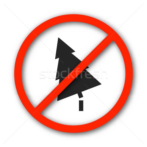 Sign prohibition deforestation, vector illustration. Stock photo © kup1984