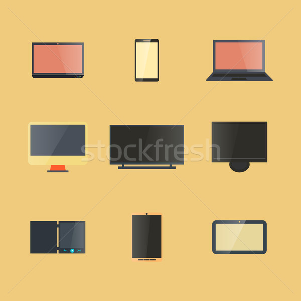 Icons digital devices with display, vector illustration. Stock photo © kup1984
