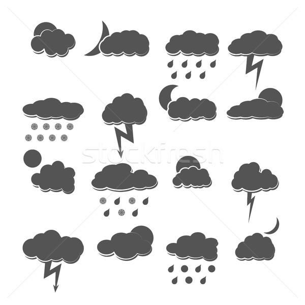 погода серый иконки изолированный белый Сток-фото © kup1984