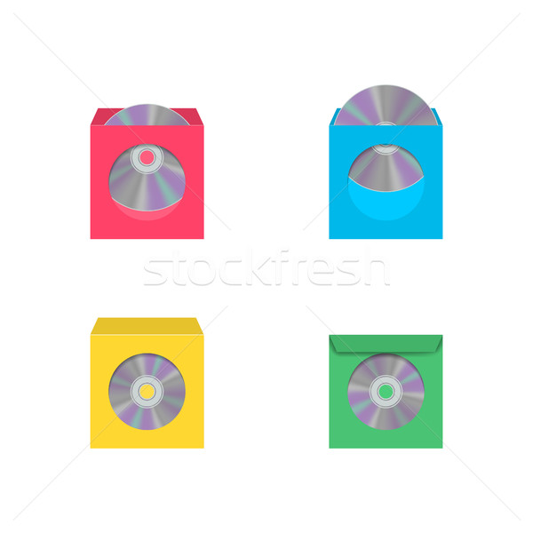 компакт-диск окна набор цвета реалистичный изолированный Сток-фото © kup1984