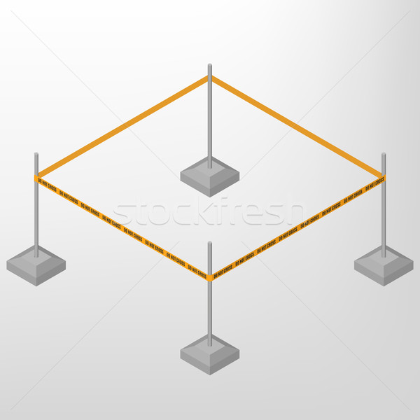 Warning tape for fencing isometric, vector illustration. Stock photo © kup1984