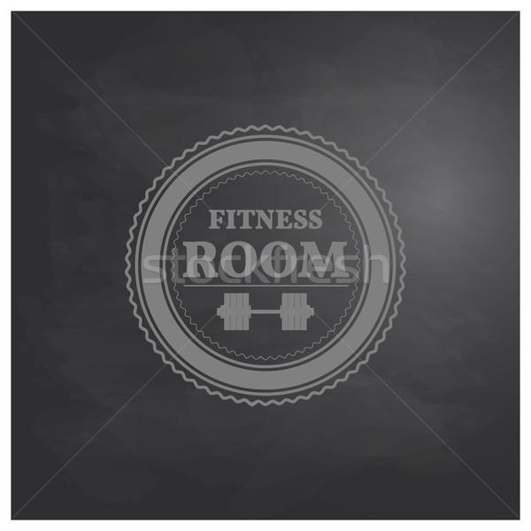 Emblema fitness quarto estilo retro prancheta giz Foto stock © kup1984