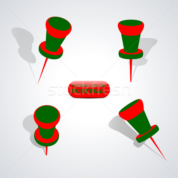 Stock photo: Set of pushpins, vector illustration.