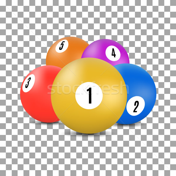 Balls for snooker and billiards in 3D style, vector illustration. Stock photo © kup1984