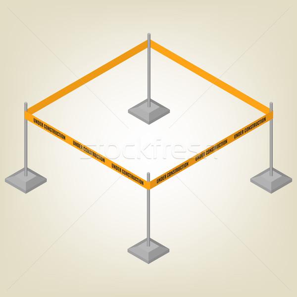 Waarschuwing tape schermen isometrische tekst geïsoleerd Stockfoto © kup1984