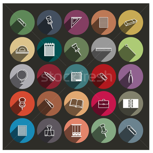 Chancellery icons, vector illustration. Stock photo © kup1984