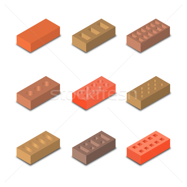 Conjunto isométrica tijolos nove diferente formas Foto stock © kup1984