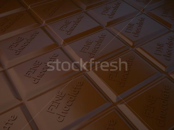 Tile of black chocolate, 3d illustration. Stock photo © kup1984