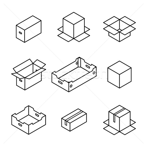 Set of cardboard boxes from thin lines, vector illustration. Stock photo © kup1984