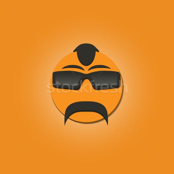 Cara engraçada bigode óculos de sol amarelo vetor ilustrações Foto stock © kup1984
