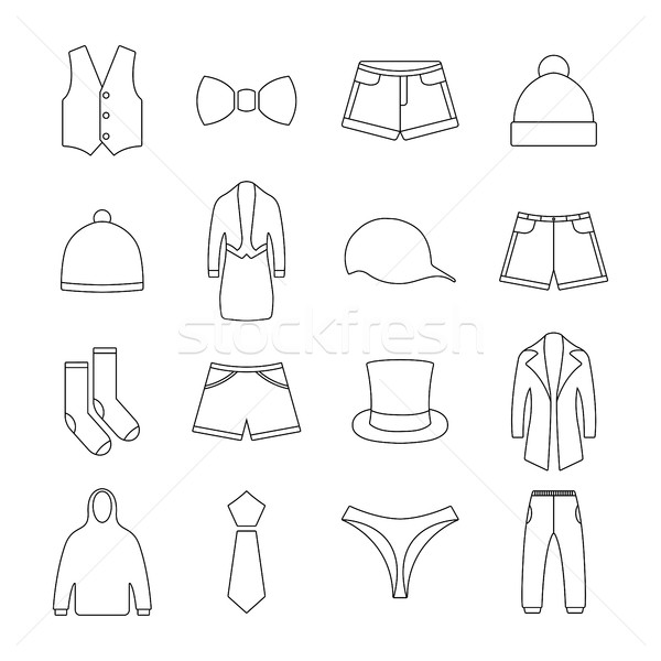 ícones roupa fino linhas segundo vetor Foto stock © kup1984